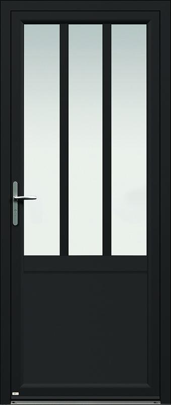 La porte d'entrée de style industriel en noir 2100 texturé Candel-98 de Zilten