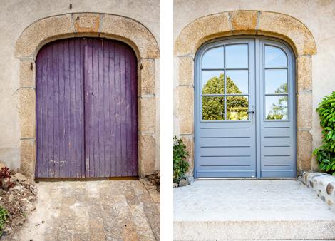 Avant et après d'une porte d'entrée sur mesure lors de rénovations