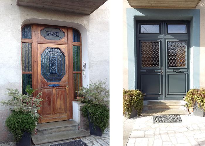Avant et après l'installation d'une nouvelle porte d'entrée d'un logement en rénovation